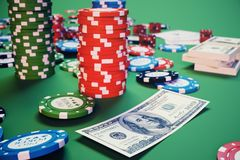 3D illustration casino game. Chips, playing cards for poker. Poker chips, red dice and money on green table. Online. Casino concept Stock Images