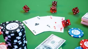 3D illustration casino game. Chips, playing cards for poker. Poker chips, red dice and money on green table. Online vector illustration