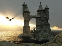 3D Illustration Of A Castle On The Water And Dragon. 3d illustration fantasy landscape with a fairytale castle and a flying dragon Royalty Free Stock Images