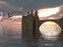 3D Illustration Of A Castle On The Water And Dragon. 3d illustration fantasy landscape with a fairytale castle and a flying dragon Royalty Free Stock Photography