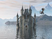 3D Illustration Of A Castle On The Water And Dragon. 3d illustration fantasy landscape with a fairytale castle and a flying dragon Stock Images