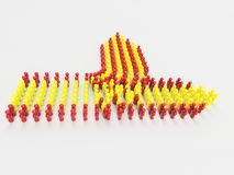 3D Illustration Catalonia independence from Spain,. Catalonia independence from Spain, 3D Illustration Flag of Catalonia made of little men against a clear Stock Image
