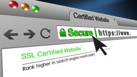 3D Illustration Certified Website SSL Secure Browser. High resolution 3d illustration of SSL Secure Browser with text Certified Website Secure. Great conceptual Stock Image