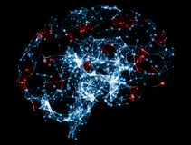 3D illustration - cerveau pour le neurone bas poly Image libre de droits