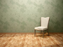 3d illustration of the chair in the room with. Green walls Stock Images