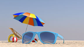 3D Illustration Chair Umbrella on the beach Stock Photography