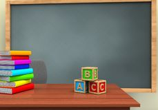 3d blank. 3d illustration of chalkboard with abc cubes and pile of literature Stock Images