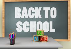 3d blank. 3d illustration of chalkboard with back to school text and abc cubes Stock Photos