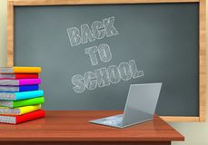 3d back to school. 3d illustration of chalkboard with back to school text and laptop computer Royalty Free Stock Photos