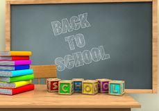 3d letters cubes. 3d illustration of chalkboard with back to school text and letters cubes Royalty Free Stock Photo