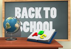 3d globe. 3d illustration of chalkboard with back to school text and opened textbook Stock Photos