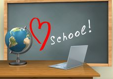 3d blank. 3d illustration of chalkboard with love school text and laptop computer Stock Photos