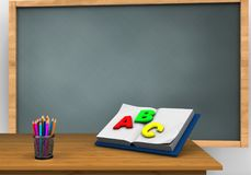 3d blank. 3d illustration of chalkboard with opened textbook and Royalty Free Stock Images