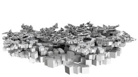 3D illustration of chaotic small cubes object Stock Image