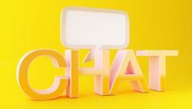 3d Chat text with speech bubble. 3d illustration. Chat text with speech bubble on yellow background. Social media concept Stock Photos