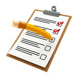 A 3d illustration of a checklist paper on a check board with yellow pencil. A 3d illustration of a checklist paper on a check board with a clips and a yellow vector illustration