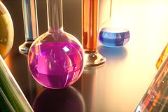 3d illustration of a chemical reaction, the concept of a scientific laboratory on a blue background. Flasks filled with Royalty Free Stock Photos