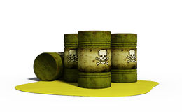 3d illustration of chemical weapon in barrels isolated on white Stock Image