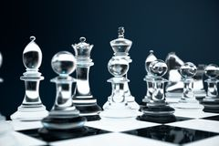 3D illustration Chess game on board. Concepts business ideas and strategy ideas. Glass chess figures on a dark. Background with depth of field effects Royalty Free Stock Photo