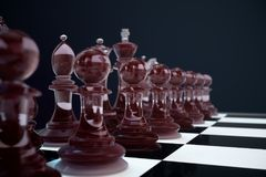 3D illustration Chess game on board. Concepts business ideas and strategy ideas. Glass chess figures on a dark. Background with depth of field effects Royalty Free Stock Photos