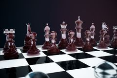 3D illustration Chess game on board. Concepts business ideas and strategy ideas. Glass chess figures on a dark. Background with depth of field effects Stock Image