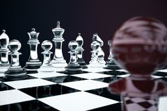 3D illustration Chess game on board. Concepts business ideas and strategy ideas. Glass chess figures on a dark. Background with depth of field effects Stock Photo