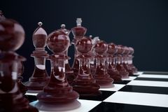 3D illustration Chess game on board. Concepts business ideas and strategy ideas. Glass chess figures on a dark. Background with depth of field effects Stock Images