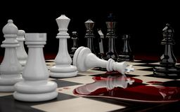 Defeat white chess pieces. 3D illustration of Chessboard with figures during the game close-up on a dark background. Defeat of the white chess pieces Stock Photos