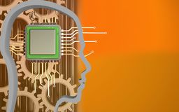 3d chip. 3d illustration of chip over orange background with gears royalty free illustration