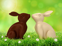 3D illustration of chocolate rabbits Stock Photos