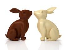 3D illustration of chocolate rabbits Royalty Free Stock Image