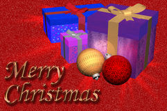 3D Illustration: Christmas gifts plus ornaments Stock Photos