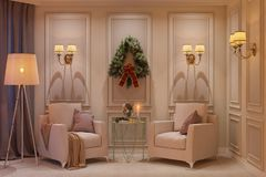 3d illustration of a Christmas interior. Interior design in classical style with two armchairs. A floor lamp and a lamp sconce Stock Photography