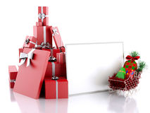 3d illustration Christmas paper card with gift boxes on white ba Royalty Free Stock Photography