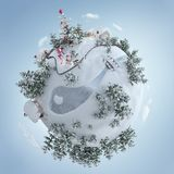 3d illustration of the Christmas planet with Christmas tree and Christmas presents near the frosty road. royalty free illustration