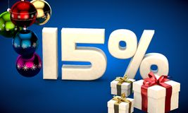 3d illustration of Christmas sale 15 percent discount. Blue Stock Photography