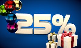 3d illustration of Christmas sale 25 percent discount. Blue Stock Images