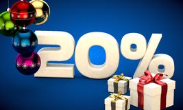 3d illustration of Christmas sale 20 percent discount. Blue Royalty Free Stock Images