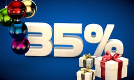 3d illustration of Christmas sale 35 percent discount Royalty Free Stock Photo