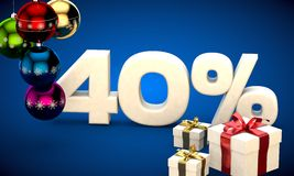 3d illustration of Christmas sale 40 percent discount Royalty Free Stock Image