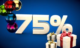 3d illustration of Christmas sale 75 percent discount. Blue vector illustration