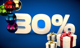 3d illustration of Christmas sale 30 percent discount. Blue Royalty Free Stock Image