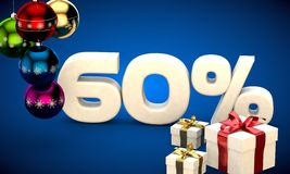 3d illustration of Christmas sale 60 percent discount. Blue Royalty Free Stock Photos