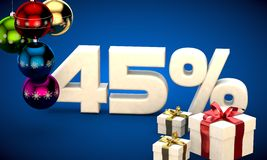 3d illustration of Christmas sale 45 percent discount Royalty Free Stock Image