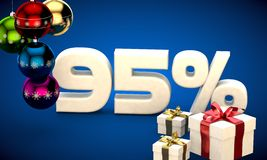 3d illustration of Christmas sale 95 percent discount. Blue royalty free illustration