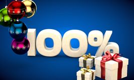 3d illustration of Christmas sale 100 percent discount. Blue Royalty Free Stock Image
