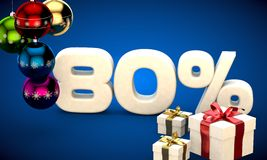 3d illustration of Christmas sale 80 percent discount. Blue Royalty Free Stock Photo