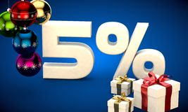 3d illustration of Christmas sale 5 percent discount Stock Photography