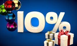 3d illustration of Christmas sale 10 percent discount. Blue stock illustration