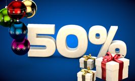 3d illustration of Christmas sale 50 percent discount. Blue Stock Photo